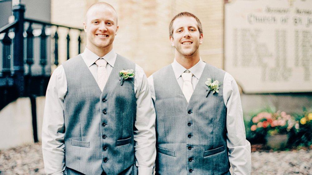 Two Groomsmen at Little Falls wedding