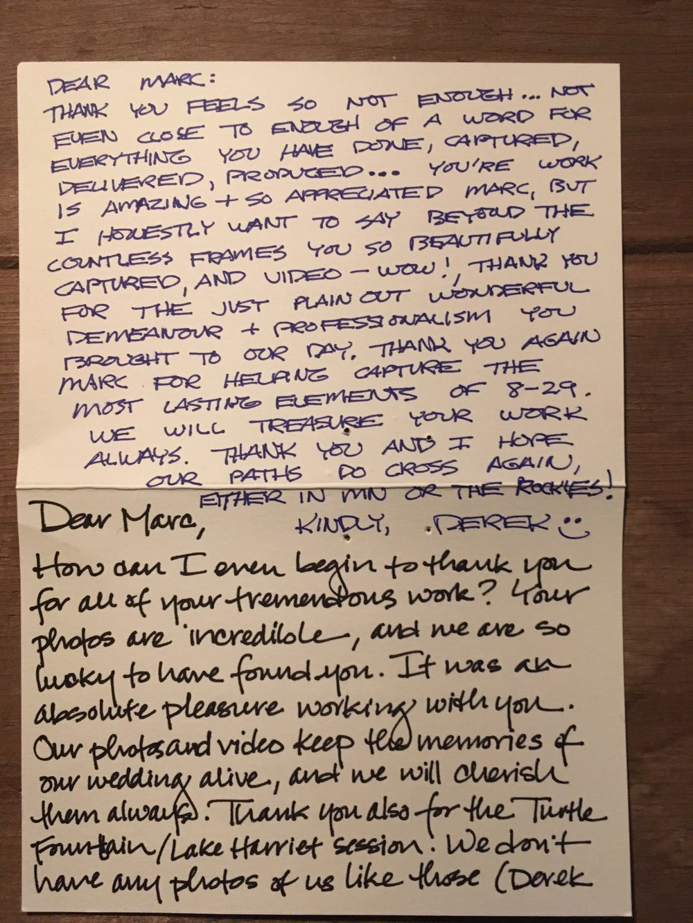 A lovely letter sent to me after the photos were delivered by Derek & Jen. 2015 Wedding