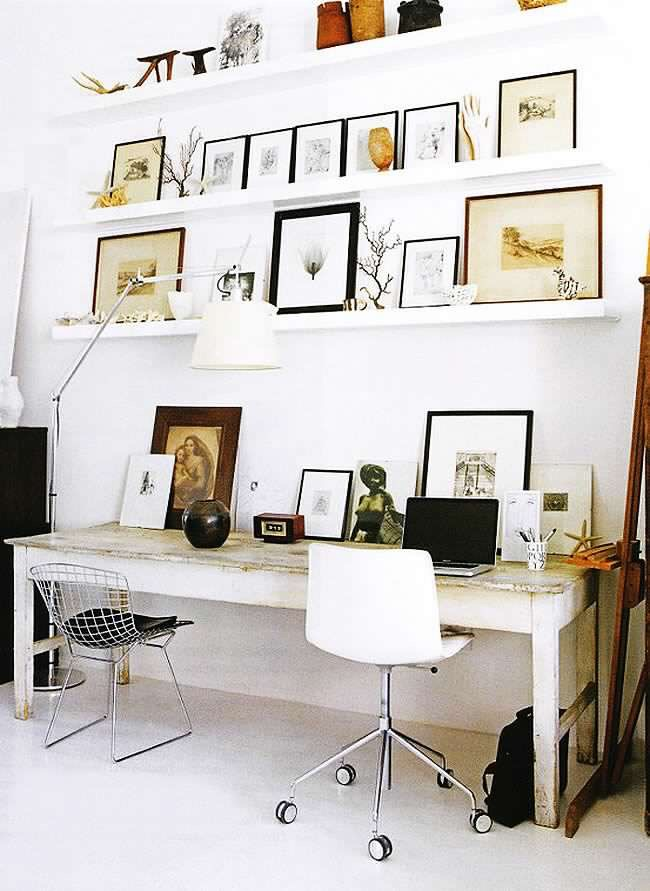 This eclectic office space shows how simple it can be to mix farmhouse style with modern accents.