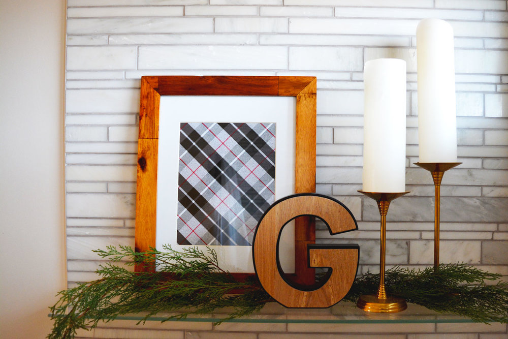 Framed gift-wrap feels pretty in plaid
