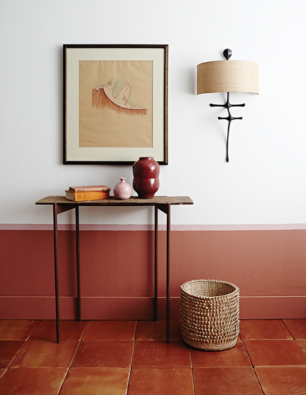 Lower wall colour, Red Earth (64), Farrow & Ball; chair rail colour (278), Nancy's Blushes, Farrow & Ball