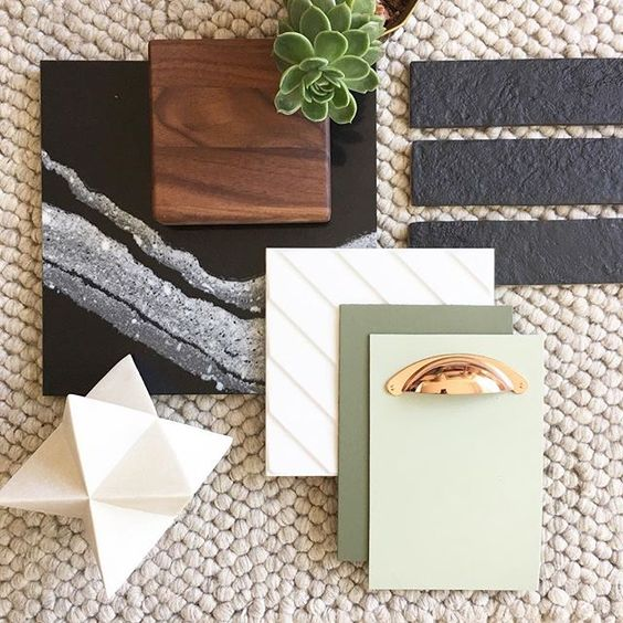 501   Geo shapes + fresh greens are highlighted by  Cambria's new 'Mersey' white-veined quartz  - yummy.