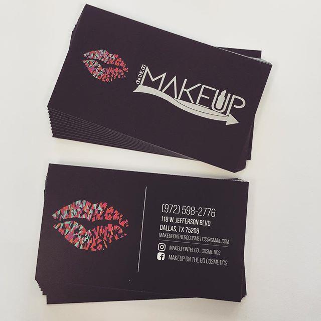#foilstamp #businesscards #oakcliff #oakcliffprint #bishoparts # black #makeup #dallas #macmakeup #makeuponthego @makeuponthego_cosmetics