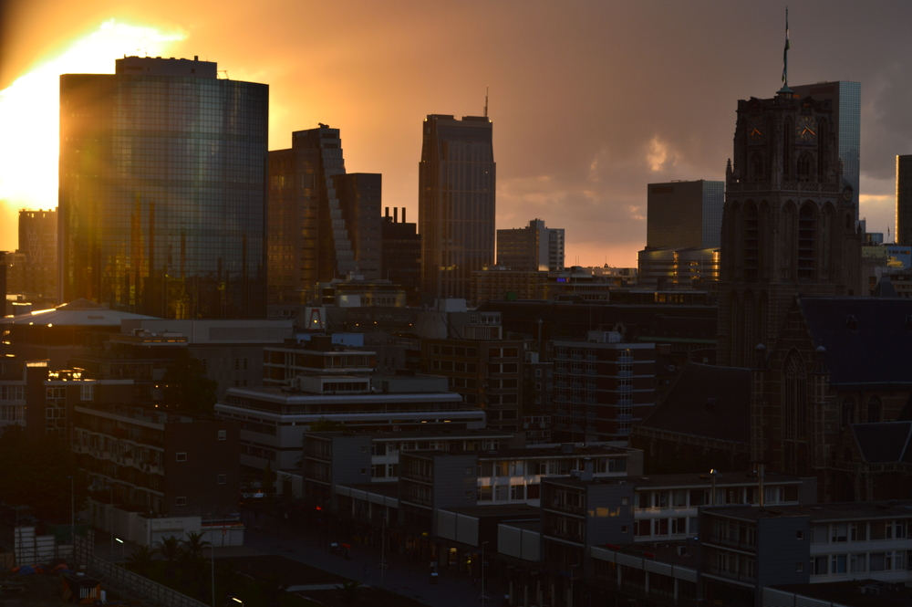 Downtown Rotterdam at sunset  Nikon D3200 | 55mm | f/10 | 1/100s | ISO-100