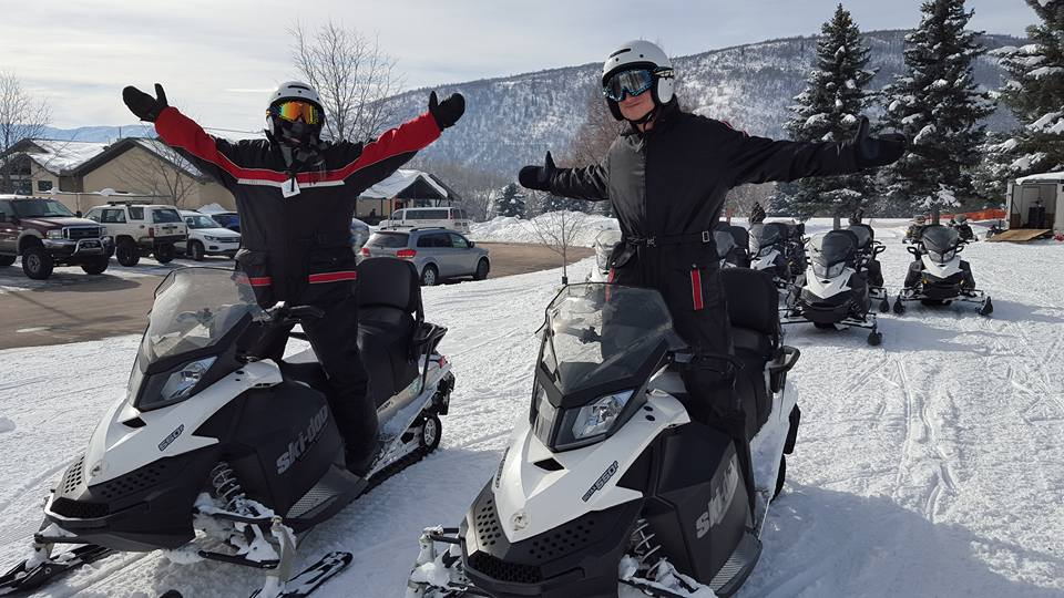 Me (left) and Tommy (right) about to take off on our snowmobiles