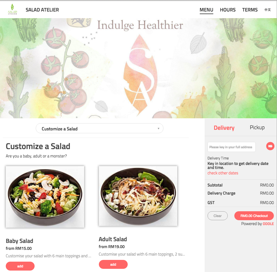 Salad Atelier in Malaysia lets their customers mix and match their favourite ingredients and toppings all on their online menu.