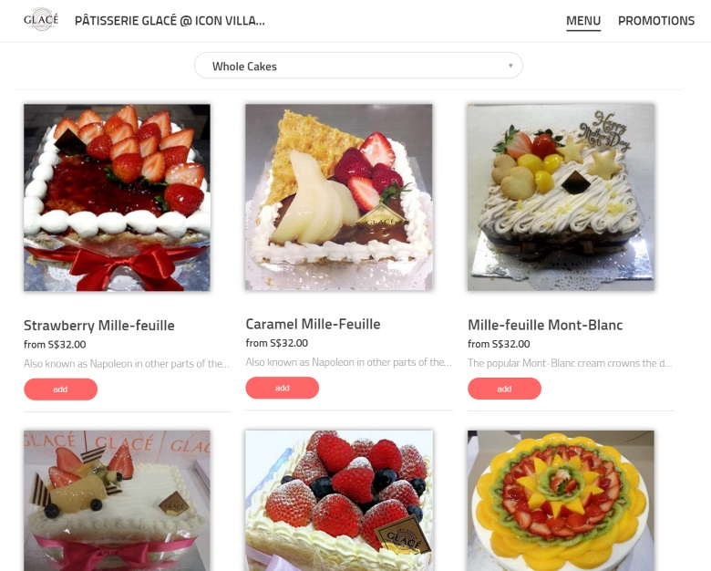 Pâtisserie Glacé online ordering menu
