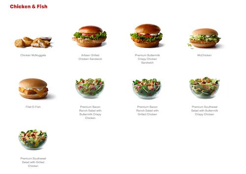 McDonald's Full Explorer online menu
