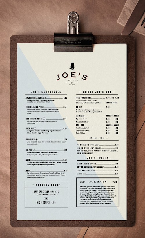 Menu design idea for a specialty coffee shop in Dublin