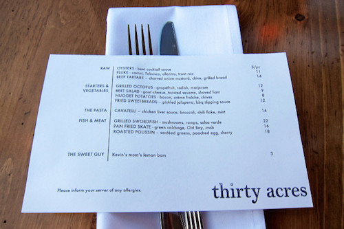 This mini-sized menu from thirty acres sure is simple yet effective and pleasant to the eye.