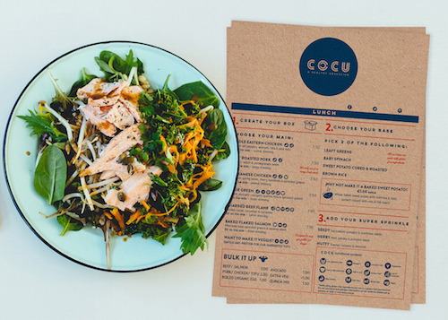 Cocu's Kitchen uses nutritional symbols for their menu
