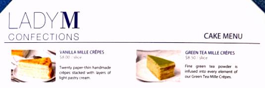 Snippet of Lady M's menu
