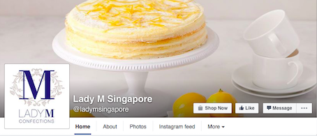 Lady M's shopping cart/online ordering system is linked from their Facebook & website