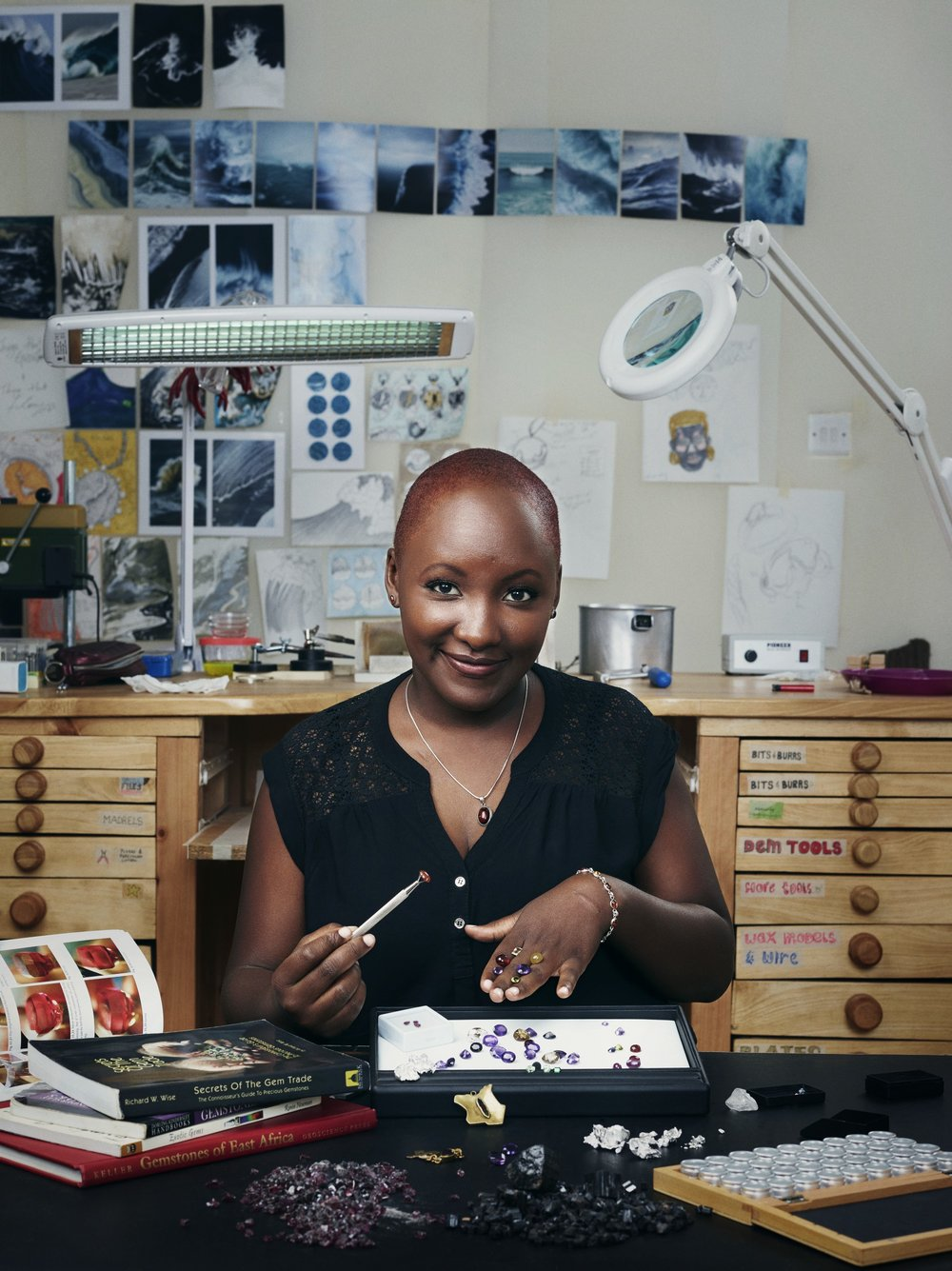 Gemologist Majala Mlagui at the studio where she turns ethically sourced gemstones into luxury jewelry. Photo Bret Hartman.