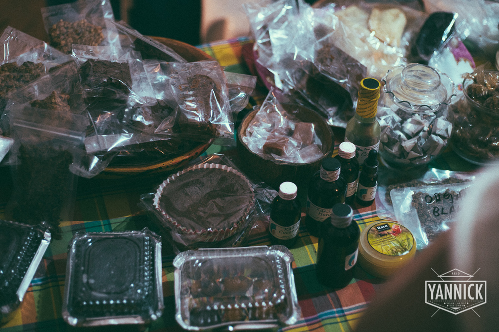 Everything on this table incorporates marijuana in the ingredients.. Cakes, Coffee Drops, Ointments, Even herb bag-juice