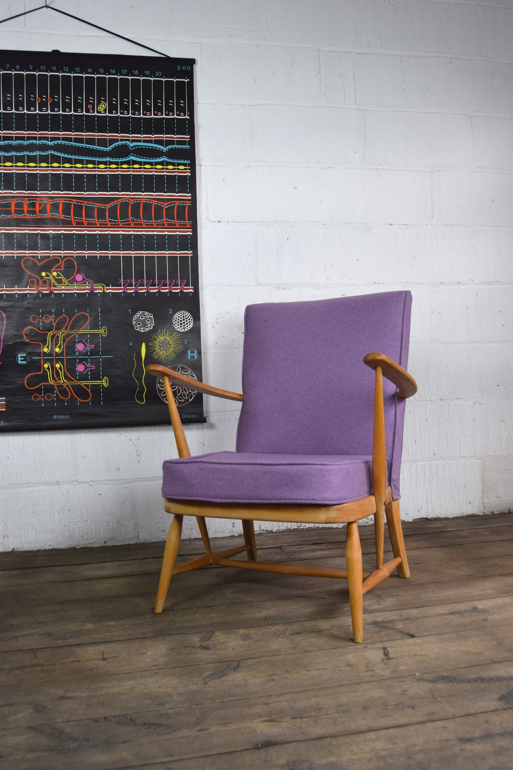 Ercol Reupholstered Purple Chair 1
