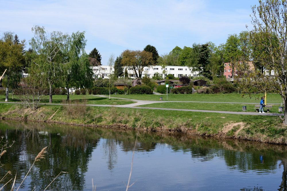 View from the river Nidda looking back to Römerstadt