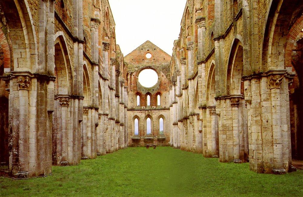 The abbey of San Galgano next to Montesiepi