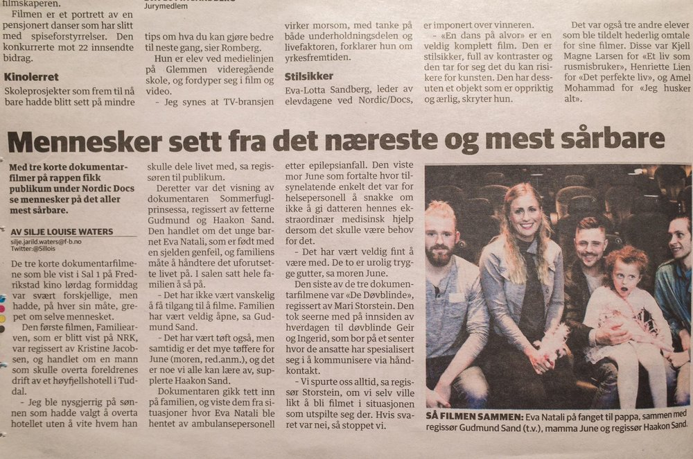 Review in Fredrikstad Blad about the documentary  The butterfly princess.  30.05.2016