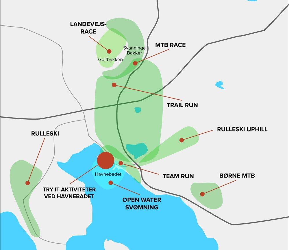 Skitse over stederne for de enkelte konkurrencer. Se præcis info under de enkelte events.