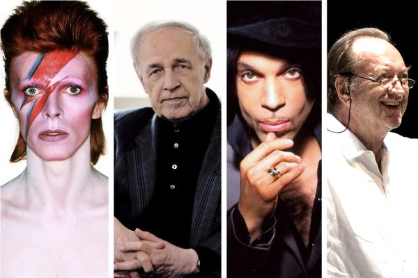 David Bowie © by Brian Duffy / David Bowie Archive - Prince ©Handout - Pierre Boulez © Harald Hoffmann / DG - Nikolaus Harnoncourt © Werner Kuretitsch