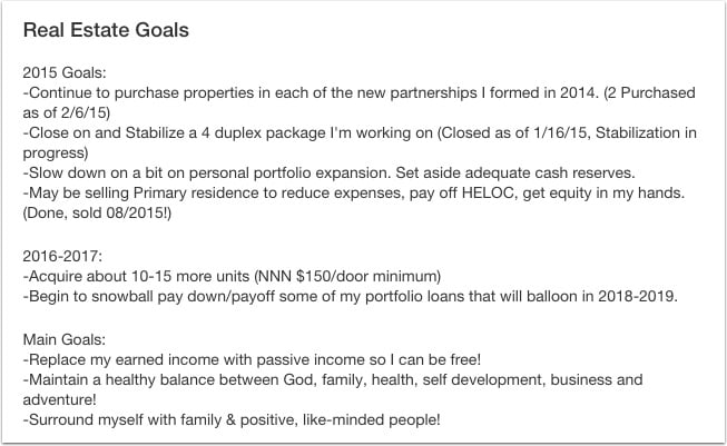 Investing goals for a real estate investor