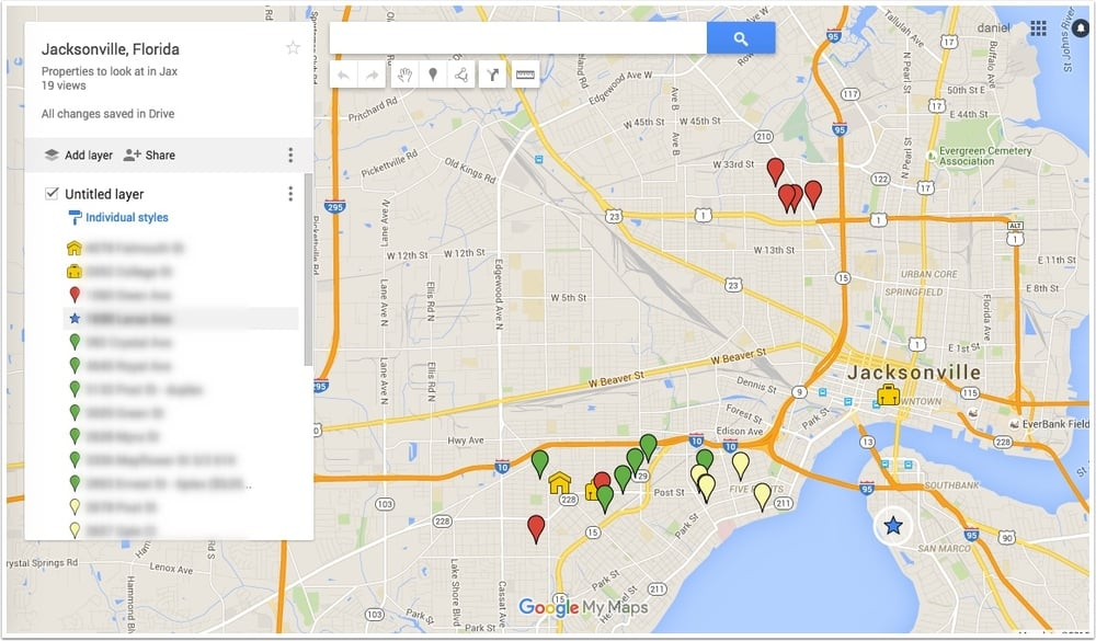 Google My Maps help you track properties that you've looked at
