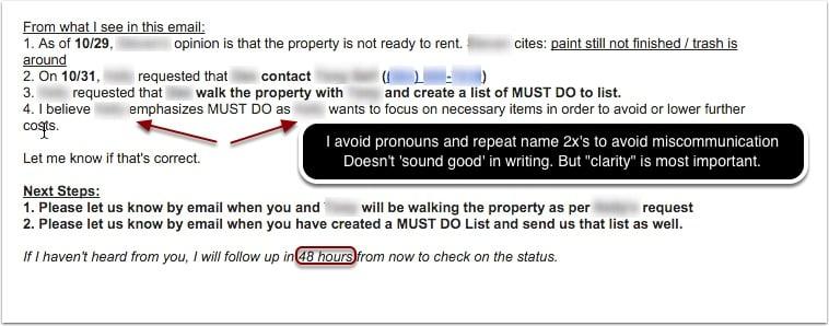 Clarifying email