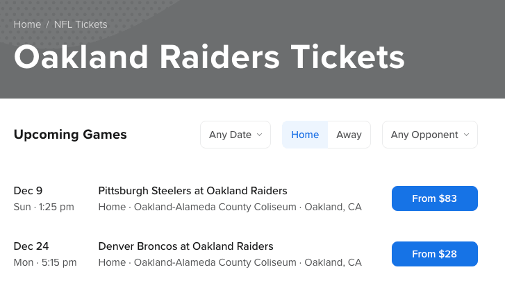 Choosing NFL tickets