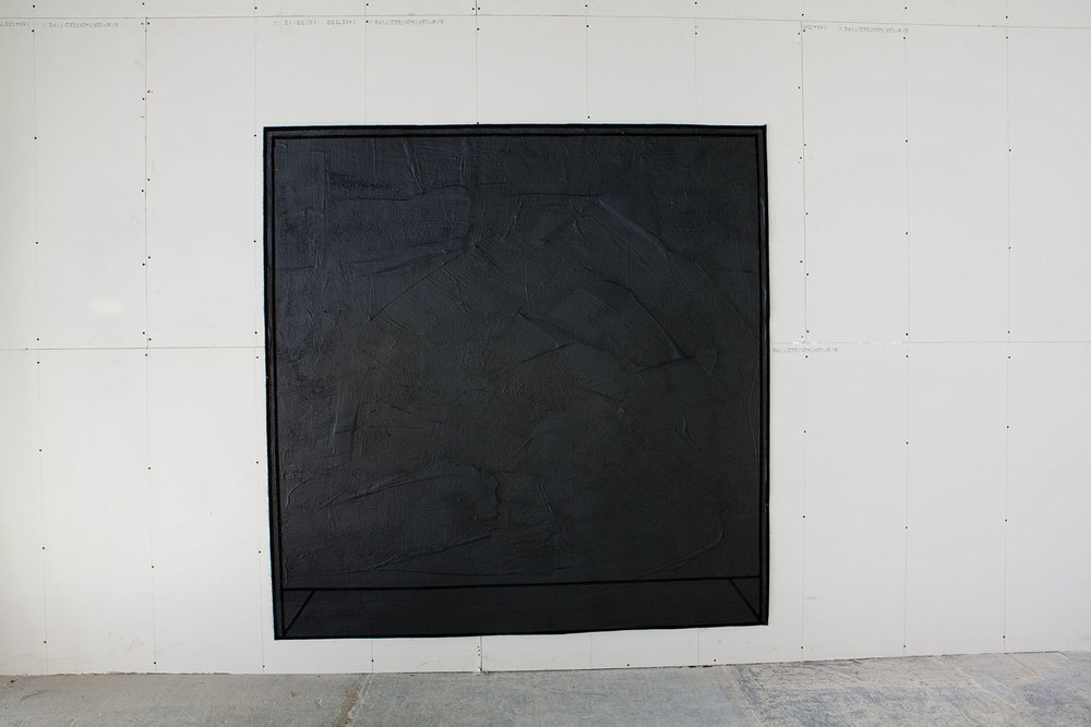 Movements inside Square I 2013   American coal tar on black carpet  140 X 140 cm  Photogrpaher: Amina Hasen