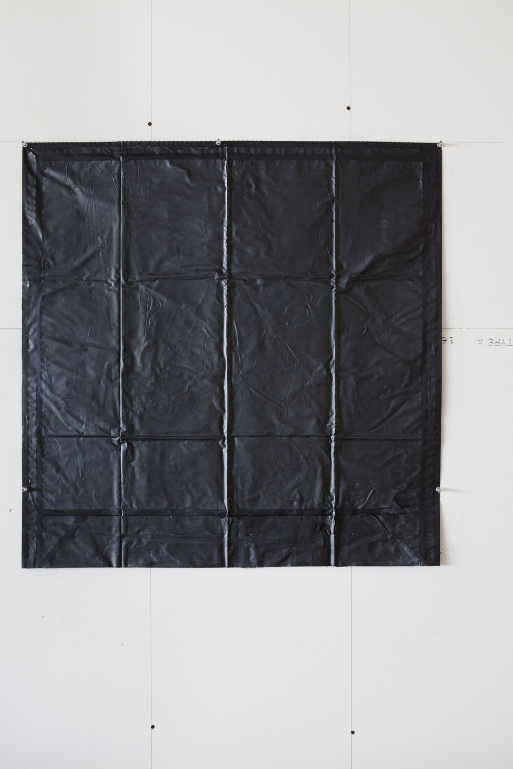Movements outside Square, garbage bag ( Black Box inside square ) 2013    American coal tar on black garbage bag   Size: Around 90 X 90 cm   Photographer: Amina Hasen