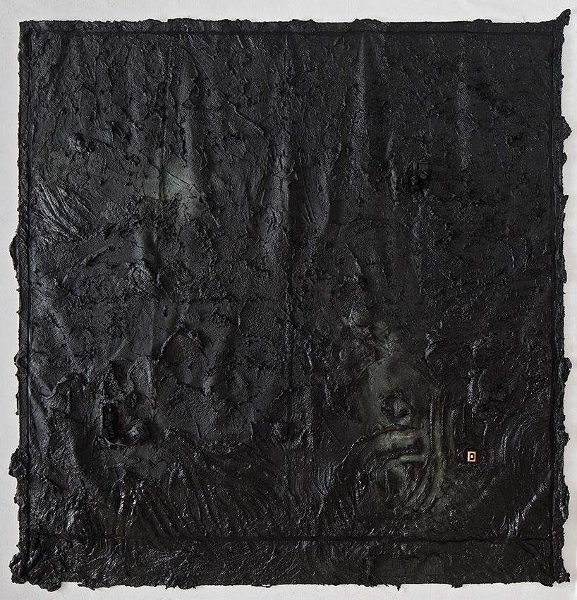 ME AFTER YOU, 2014 Gesso, Matte black acrylic paint,Elastic Bitumen Mastic, copper powder, electronics elements, 221X207cm Photographer: Elad Sarig