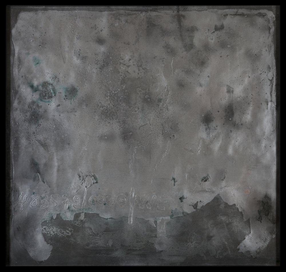 483579/0000/WE, 2016   119 X 124 CM  Huile d'Olive, graphite, acrylique, peinture métallique, sur papier. Cadre de l'artiste ( bois, graphite, Cire )  Photographe: Bertrand Michau