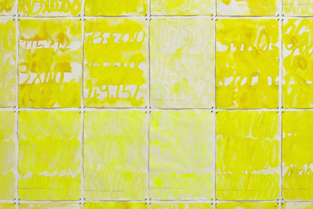 Quarante-quatre levers de soleil,(44 x 90 ans. 44 x 30 jours. 44 x 12 mois) (Saint-Cyr-L'école, 2016)   Suite de 44 aquarelles, 41 x 29,08 cm chacune Gouache, encre de chine jaune, acrylique, eaux sur papier coton recyclée fait à la main Rag 210 g (Inde du Sud) Photographie: ©jcLett