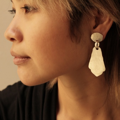 Matte silver earrings with Persian drop $220.00