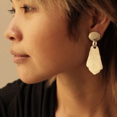 Matte silver earrings with Persian drop $220.00