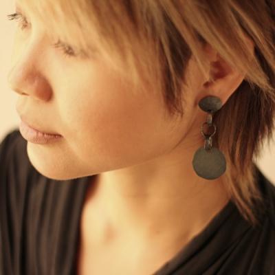 Oxidised silver drop earrings $220.00