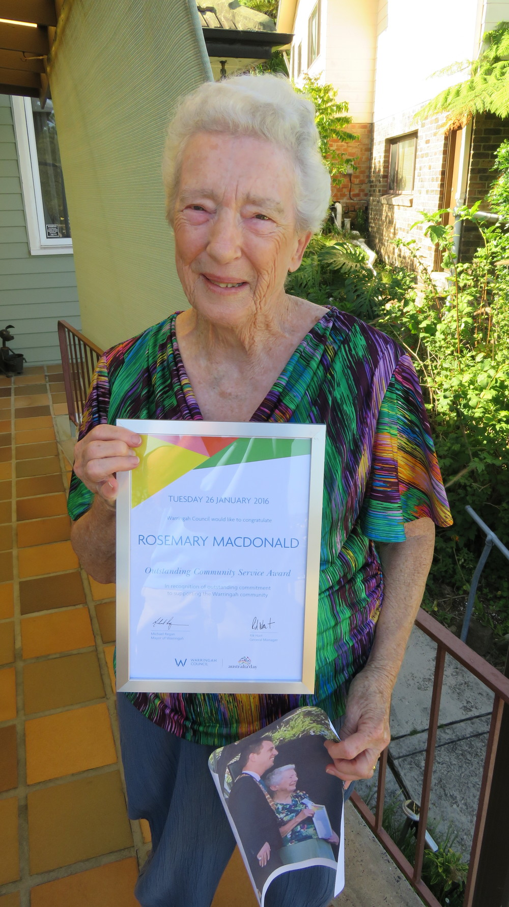Rosemary with her Australia Day Community Service Award