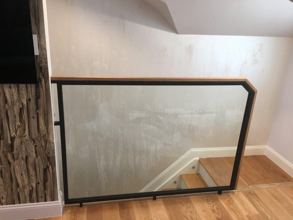 Steel & Glass Oak Handrail