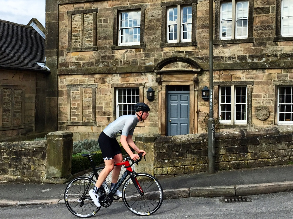 Dave rides in the Curbar Cycling SS Comb Jersey, Classic Bib Shorts and Comb Socks.