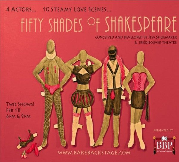 "In class we had Bare Backstage Productions presenting 50 Shades of Shakespeare.  The four actors presented 10 scenes, 19 characters in a variety of combinations, all drawn by you, the audience.  Interspersed we saw improv games and anonymous secrets from the audience members.  Below is a list of the plays featured in 50 Shades of Shakespeare with the actors who portrayed them in each class.  Romeo and Juliet: Romeo AM-Kate, PM-Mitch; Juliet: AM and PM - Ken Taming of the Shrew: Petruchio: AM and PM-Tanisha, Kate: AM-Mitch, PM-Kate Julius Caesar: Portia: AM-Mitch, PM-Tanisha; Brutus: AM-Ken, PM-Kate The Tempest: Miranda: AM-Kate, PM-Ken; Ferdinand: AM-Tanisha, PM-Mitch Richard III: Richard: AM and PM-Ken ; Anne: AM and PM-Tanisha A Midsummer Night's Dream: Helena: AM-Kate, PM-Ken; Lysander: AM-Tanisha, PM-Kate; Hermia: AM and PM-Mitch; Demetrius OUR GUESTS FROM CLASS!: AM-Alec, PM-Tyler Hamlet: Hamlet: AM-Kate, PM-Ken; Ophelia: AM-Tanisha, PM-Kate Twelfth Night: Olivia: AM-Mitch, PM-Tanisha; Cesario: AM-Ken, PM-Mitch Much Ado About Nothing: Beatrice: AM and PM-Tanisha; Benedick: AM-Mitch, PM-Kate   Answer one of the following questions. 1. As Kate mentioned in the AM Class, one of the joys of performing 50 Shades of Shakespeare is the ability to ""ditch the baggage"" or lose the context in which these scenes live within their plays.  Research a bit more about the play of one of the scenes you saw.  What is the context of this scene?  How does this context change your interpretation of the scene? 2. Were any of the scenes you saw one you read or have seen before?  If so, how did the modern adaptation of the scene aid or detract from the understanding of Shakespeare's text? 3. The improvisational nature of this production brings a unique experience for the actors and the audience.  Connect your chosen field, major, or occupation to the improvisational vs. scripted nature of this production.  How are they similar? Different? 4. Many of the scenes chose a modern setting.  Choose one scene from 50 shades of Shakespeare.  Imagine you were the director.  How would you change the setting of this scene?  How do you see this change of setting to enhance the storytelling of this moment in the play? 5. Through the improvisational nature of casting this show, many of the roles contained gender bending.  How did this unconventional change in roles redefine the relationships of the characters?  How do you see it benefitting or detracting from the stories, keeping in mind the Elizabethan actors and casting? 6. This production shares similarities to a variety of content from this semester.  Choose another piece of content and make connections. This post will close Saturday at 10pm"