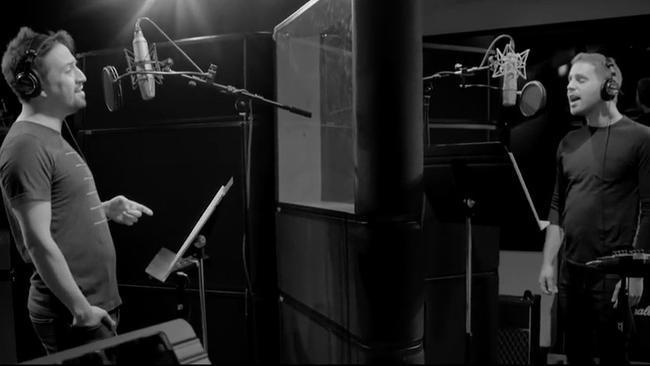 Lin Manuel Miranda and Ben Platt recording Found/Tonight