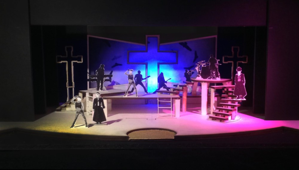 Dave Nofsinger's Scenic Design inspired by rock concerts and megachurches.