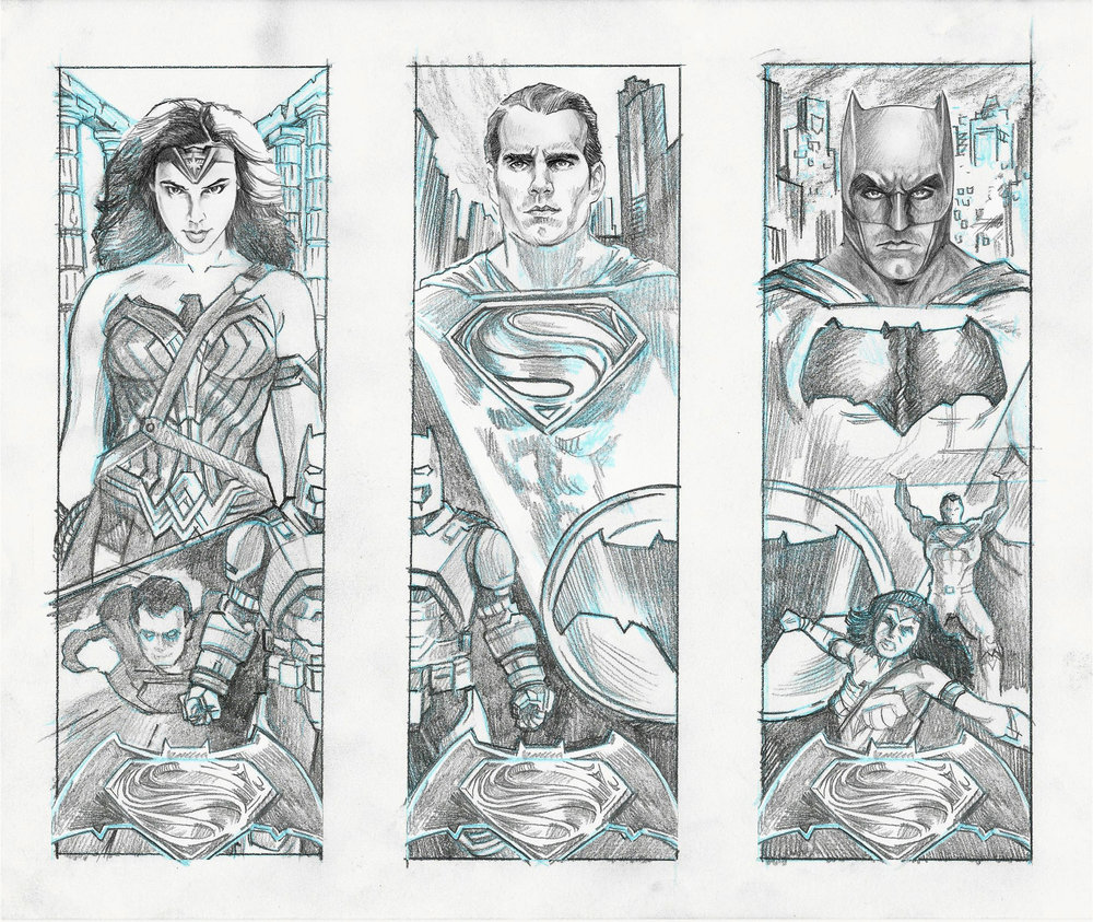 "Concept sketches for a proposed set of 3 connecting, screenprinted posters set to debut with the premiere of ""Batman V Superman"". All characters © & TM DC Comics"