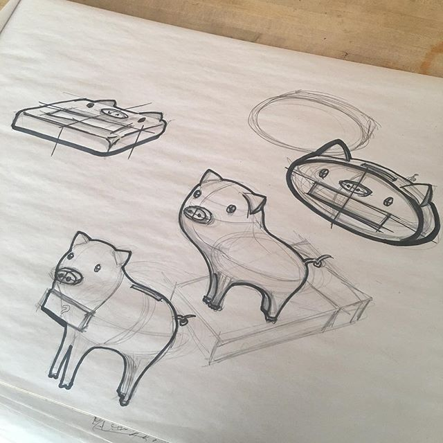 Ideation time😻 this is an interactive piggy bank for kids. #industrialsketch