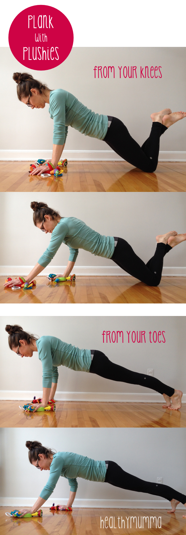 Plank variations for postpartum moms.