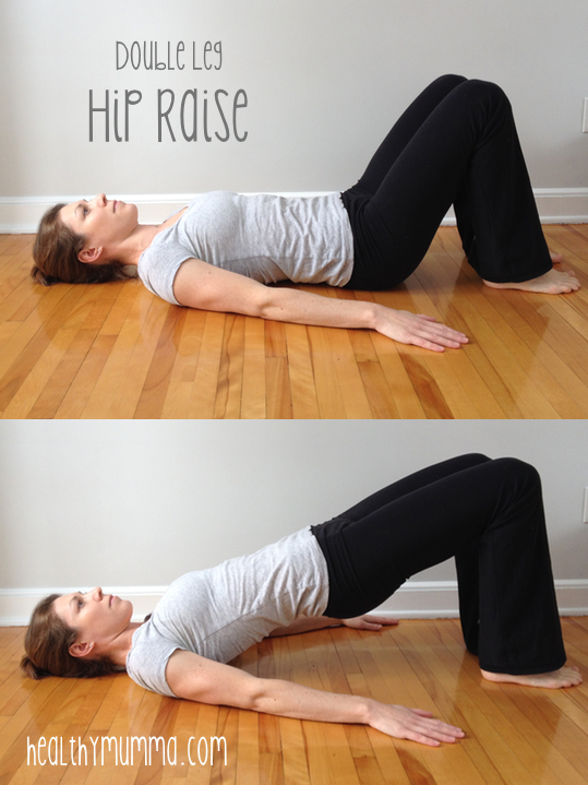woman lying on the floor doing a double leg hip bridge exercise to strengthen butt