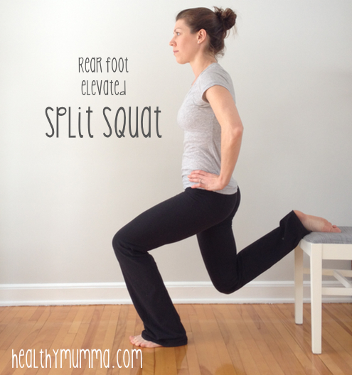 woman doing rear foot elevated split squat exercise