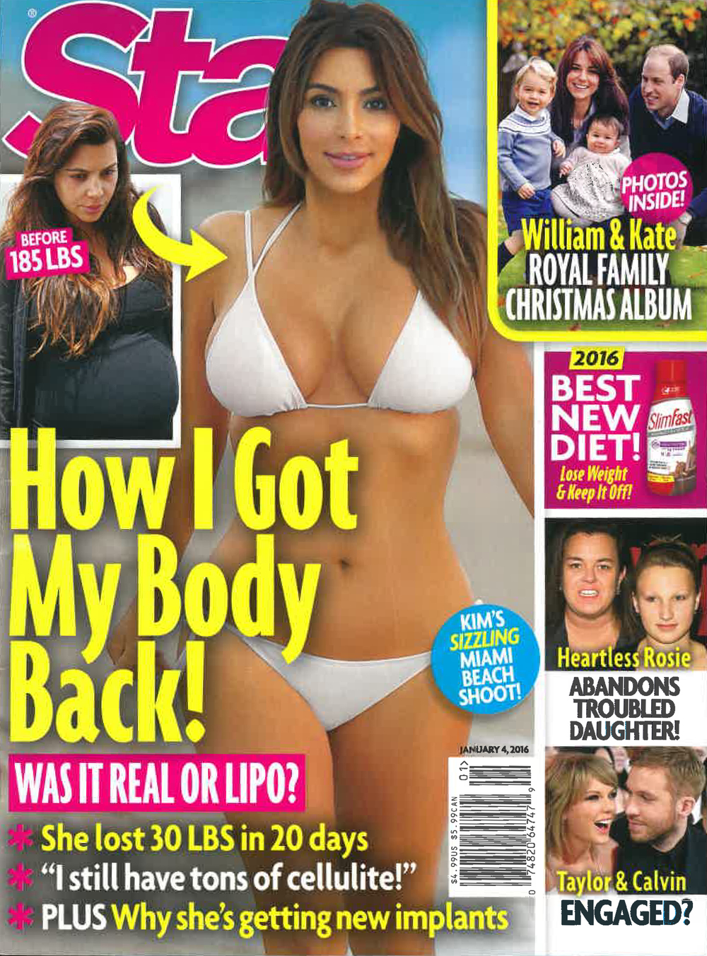 Star Magazine January 4th, 2016 Star Issue Kim Kardashian Cover