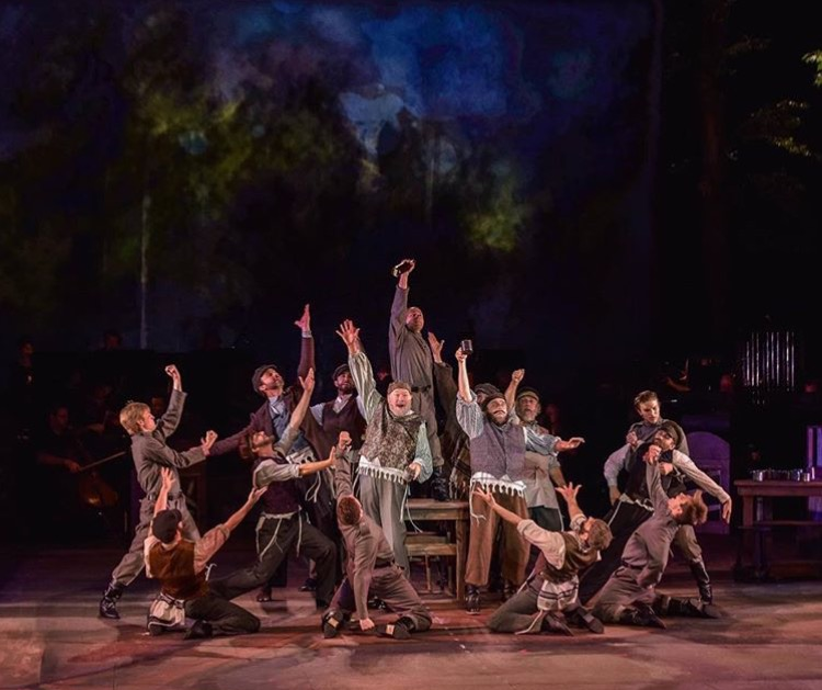 """Patrick (far left) performing """"To Life"""" as a Russian in """"Fiddler on the Roof"""" at the MUNY in St. Louis."""